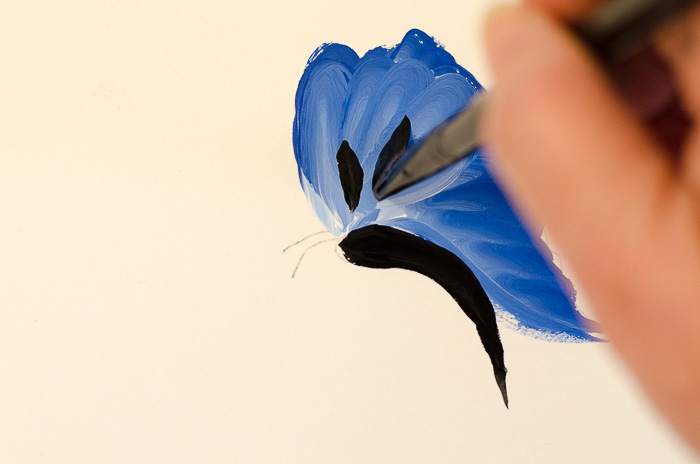 Adding details to painting blue butterfly, pamelagroppe.com