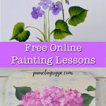 flower paintings in acrylic with text overlay, pamelagroppe.com