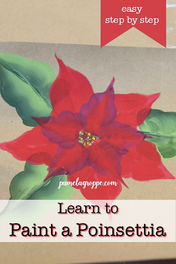 Paint poinsettia on brown paper with text overlay