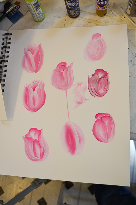 Practice sheet painting tulips, How to Paint Tulips pamela groppe art