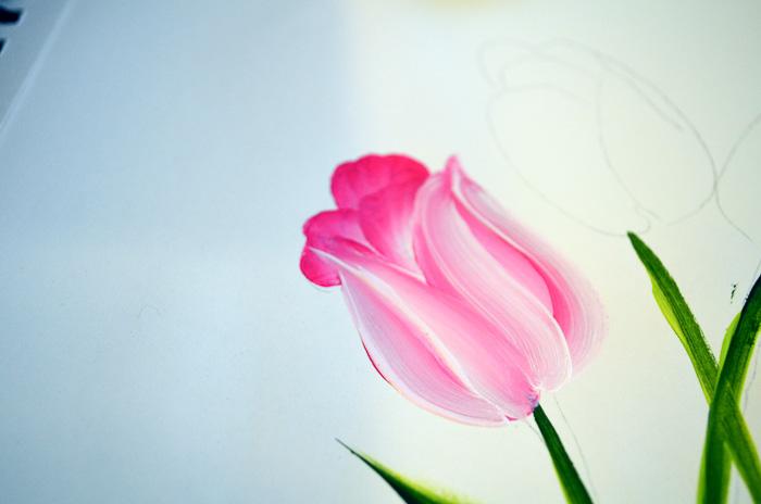 pink painted tulip, pamela groppe art