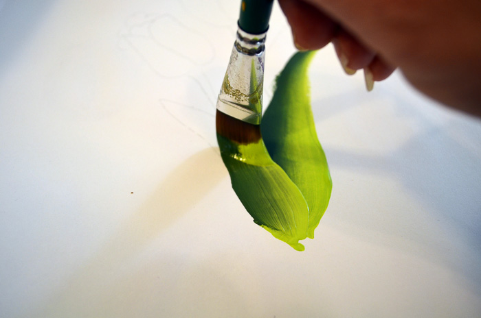 Painting tulip leaves, pamela groppe art