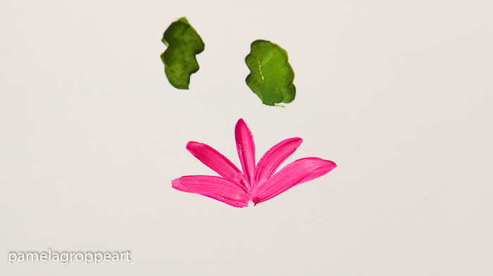 Beginning painting of Christmas cactus, pamelagroppe.com
