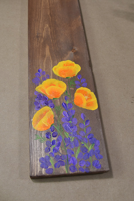 California Poppies and lupines hand painted on a pine board, pamela groppe art