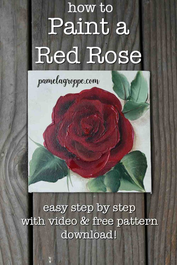 Hand painted red rose on square canvas with text overlay, how to paint a red rose, easy step by step with free video and pattern