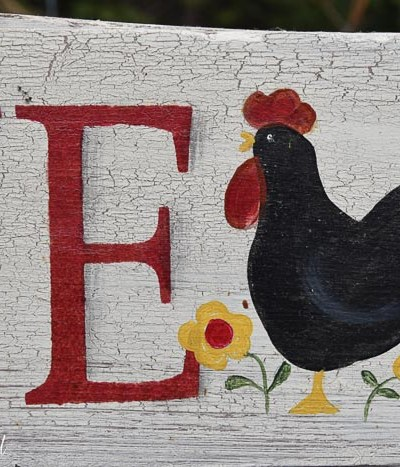 hand painted rooster on diy sign, Pamela Groppe Art
