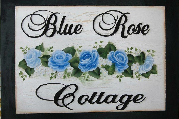 Hand painted Blue rose cottage sign with crackle finish, blue roses in center
