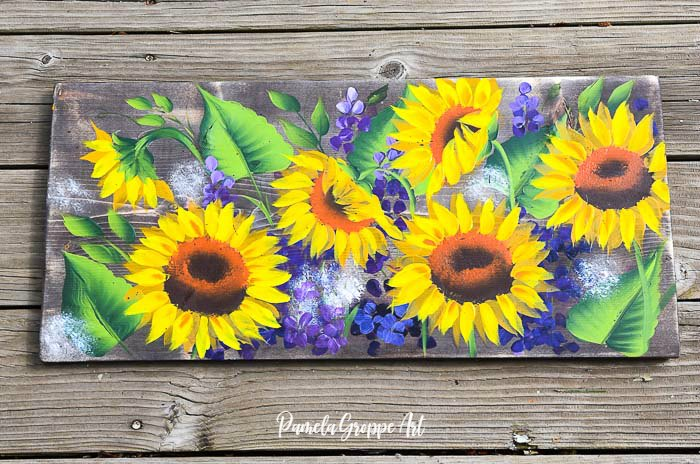 Paint Sunflowers and Delphiniums