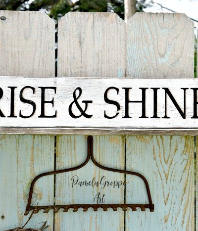 diy hand painted sign on wood board with stenciled lettering, Rise & shine, with painted hens, pamela groppe art