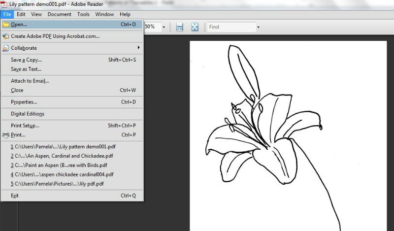 Lily Painting pattern pdf open in Adobe Reader