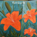 Orange lily painted on canvas, with text overlay, how to paint an Orange Lily with video, Pamela Groppe Art