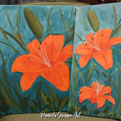 Two canvas paintings of an Orange lily in acrylics, Pamela Groppe Art