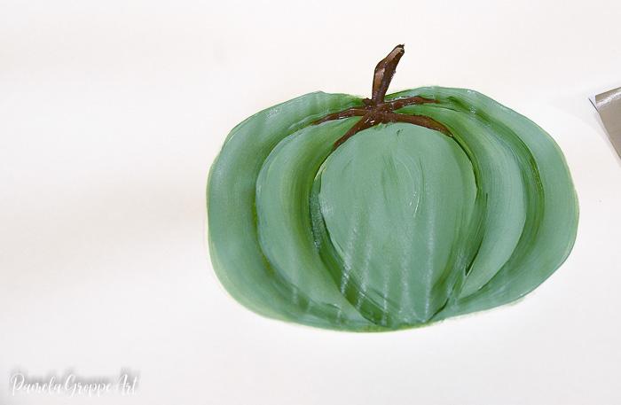 hand painted green pumpkin lesson