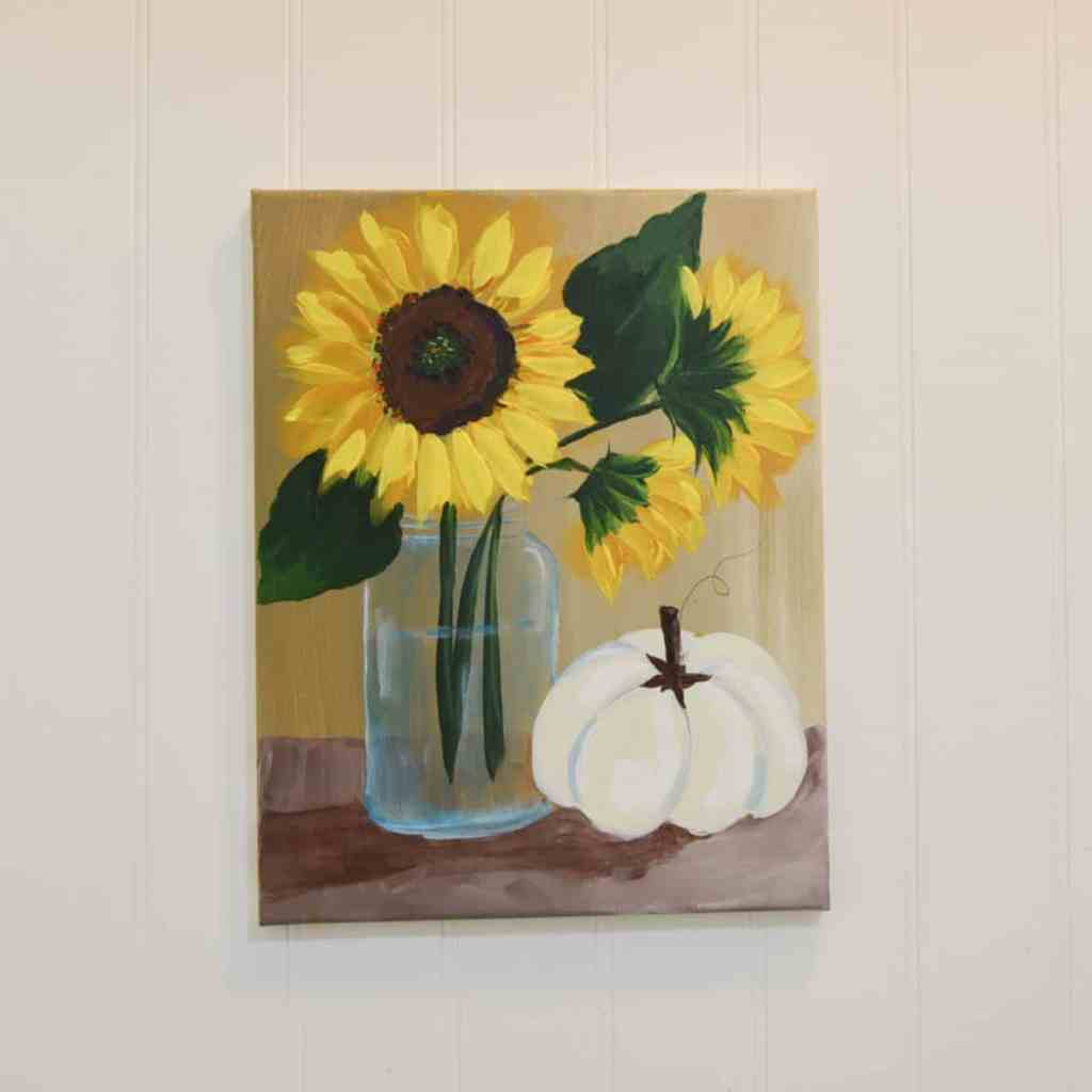 sunflower in a mason jar with pumpkin painting, easy flower painting