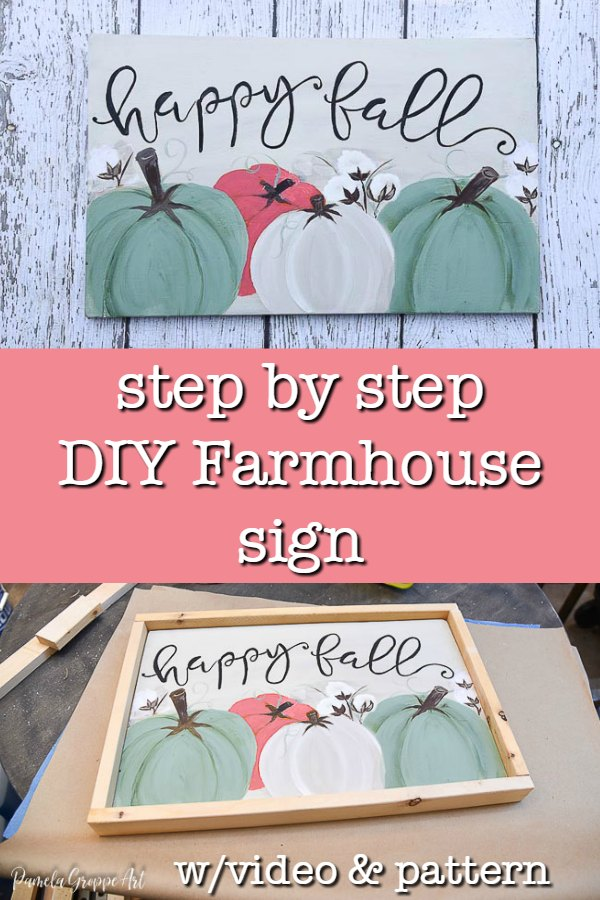 Happy Fall sign with text overlay, step by step DIY Farmhouse sign