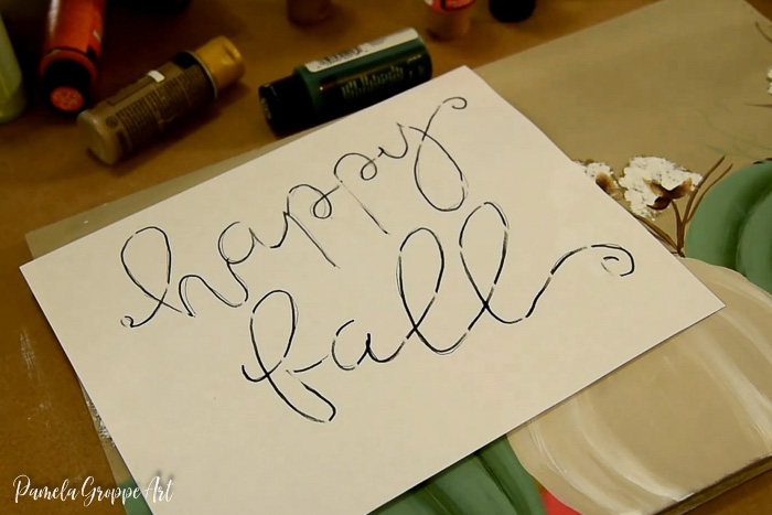 Happy Fall lettering pattern to transfer to diy sign