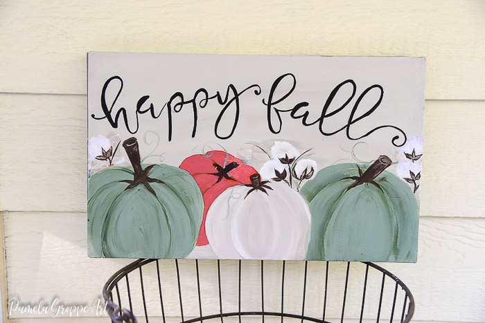 DIY Fall Sign with Pumpkins and Cotton Bolls