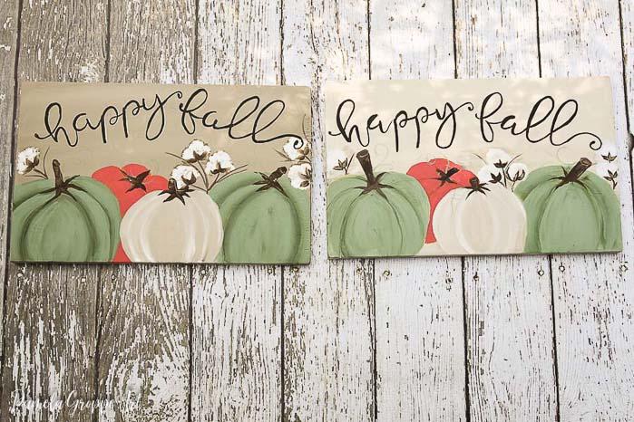 Happy Fall DIY farmhouse sign, pamela groppe art