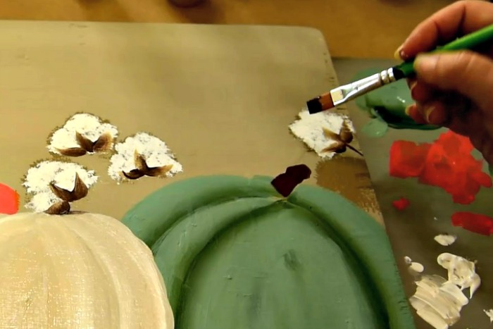 paint pumpkin stems for your DIY happy fall sign