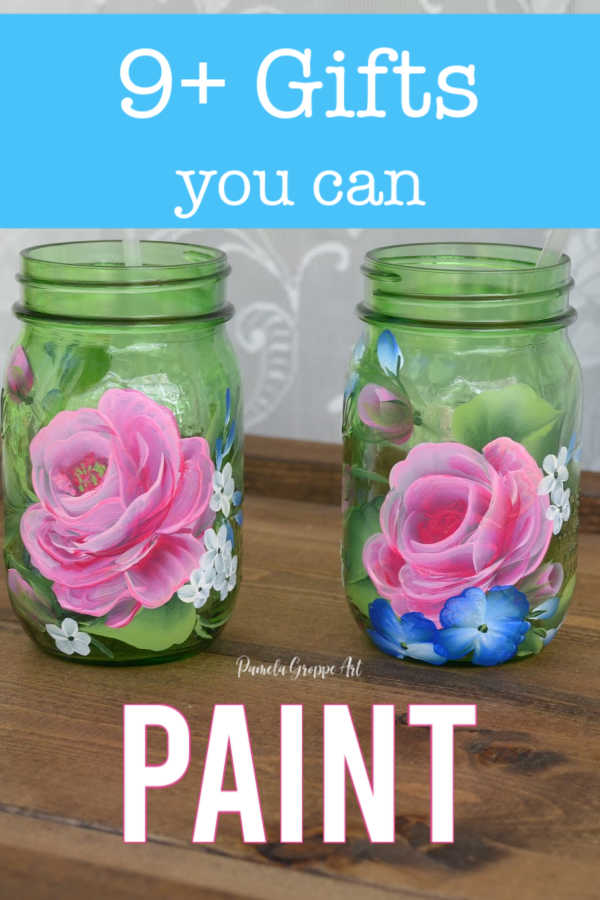 glass jars hand painted with roses, gift ideas to paint