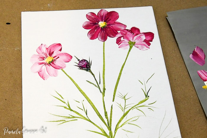 Cosmos flower painting in acrylics with text overlay, How to Paint Cosmos, Pamela Groppe Art