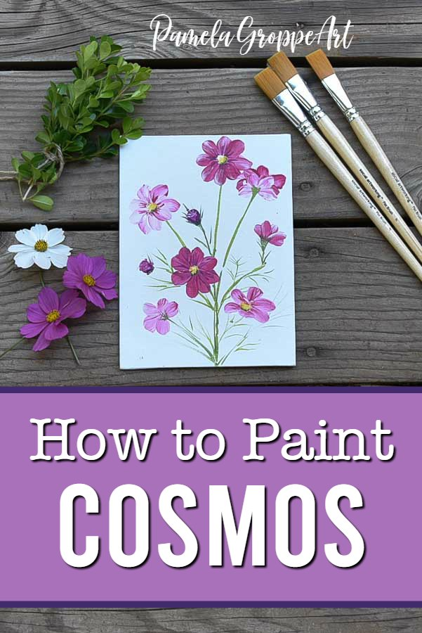 How to Paint cosmos in acrylics,