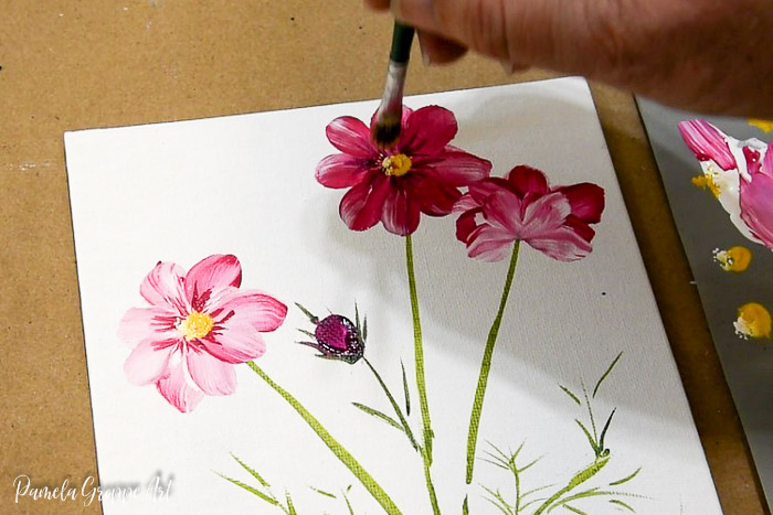 Tapping in the center painting cosmos flowers