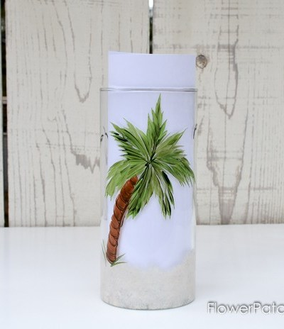 palm tree painted on glass vase, gift ideas to paint