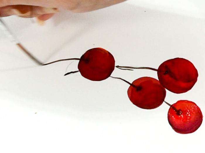 Adding stems to paint a cherry