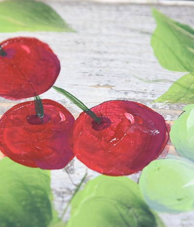 painted cherries in acrylics, pamela groppe art