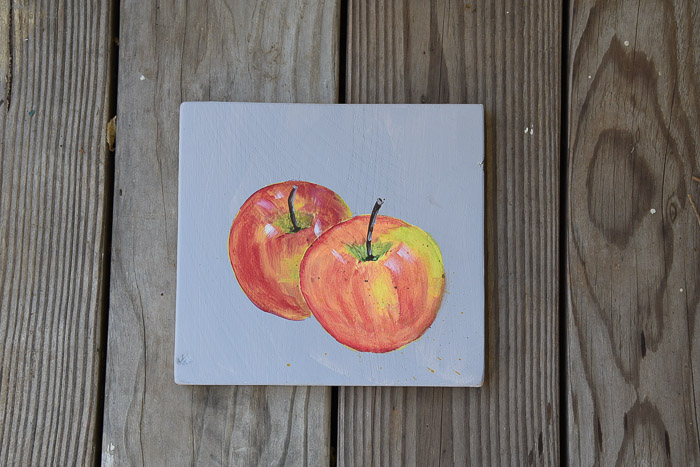 Paint an apple feature photo, hand painted apples on canvas