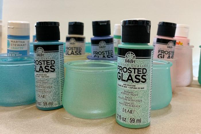 Plaid Folk Art Frosted Glass paints, Pamela Groppe art