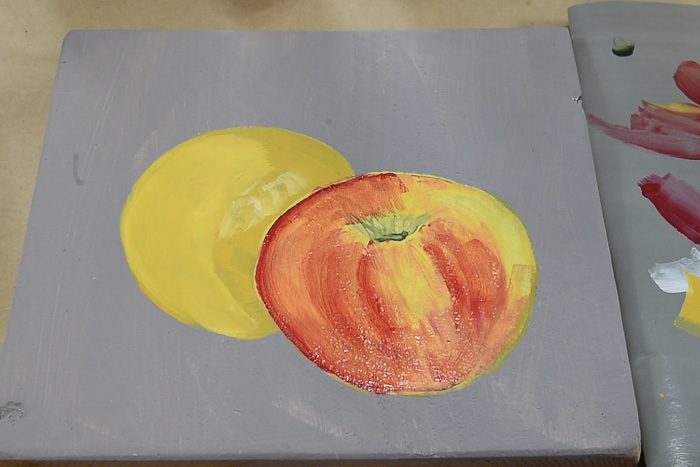 painting an apple in acrylics, pamela groppe art