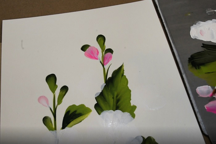 paint hollyhock buds and partial flowers