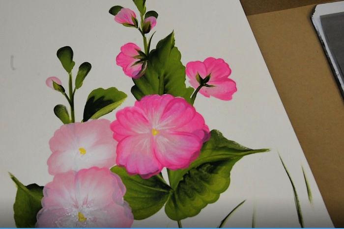Hollyhock flower centers