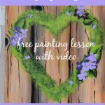 Mossy heart wreath painting with violets and text overlay, Paint this step by step, free painting lesson with video, pamela groppe art