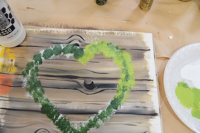 Adding Citrus Green to painted heart wreath, Pamela Groppe Art