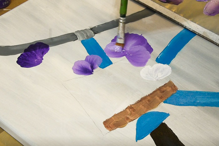 painting side petals of pansy, acrylic painting turorial