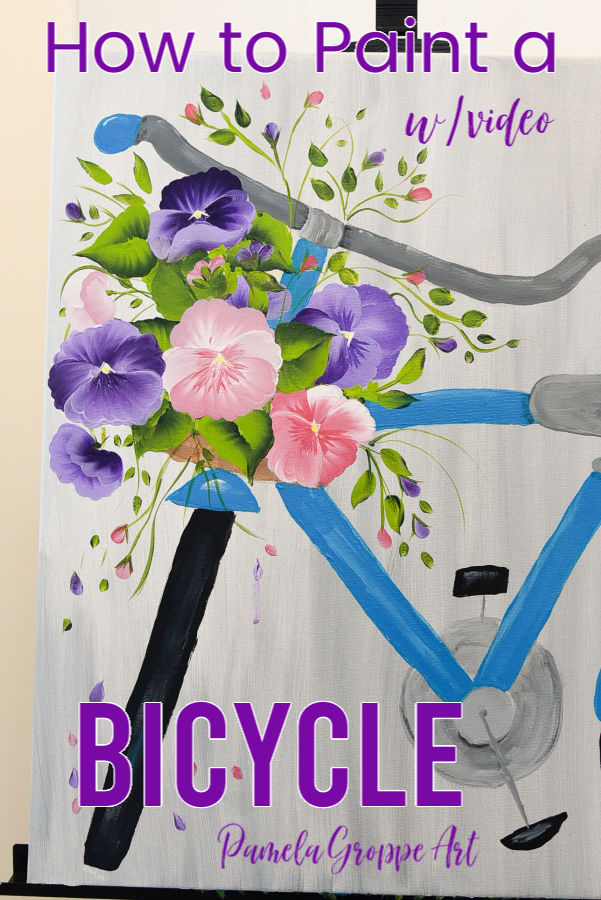blue bicycle painting with pansy flowers, Spring acrylic painting tutorial
