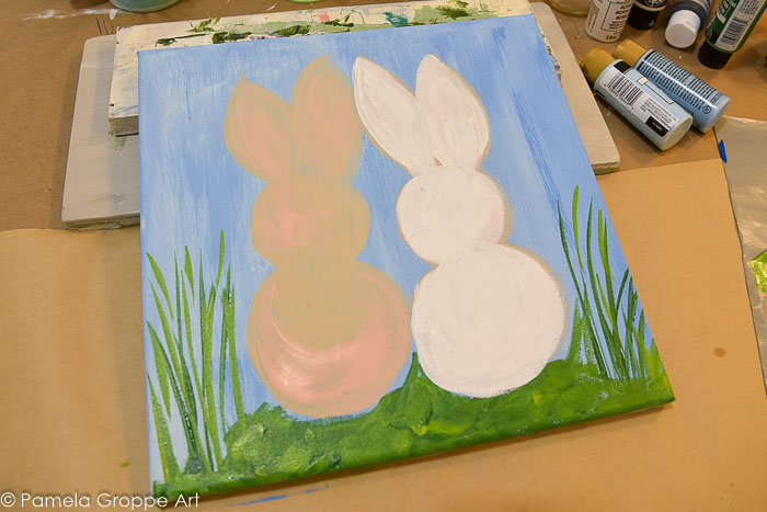Starting painting the bunny white