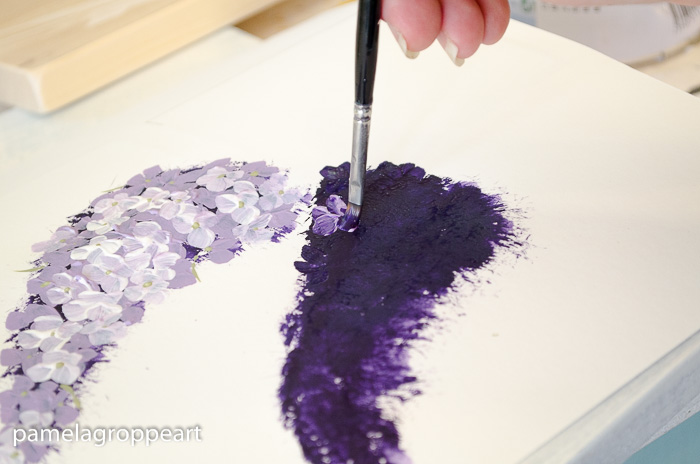 Add petals to lilac painting