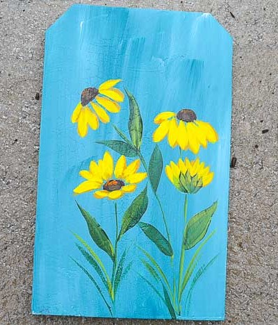 Black Eyed Susans painted in acrylics