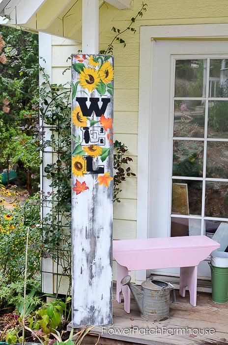 Rustic Barnwood finish on DIY Fall Welcome sign