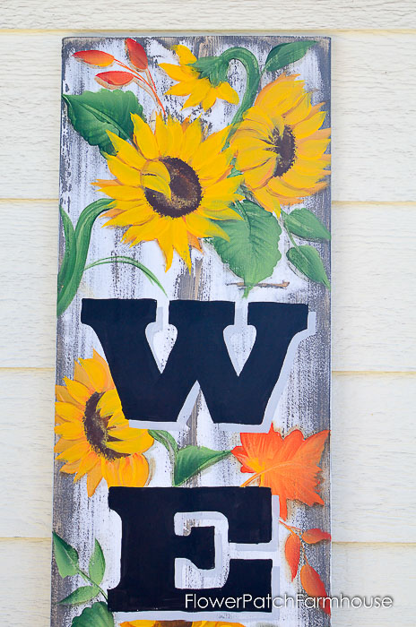 Painted sunflowers on DIY Welcome sign for Fall