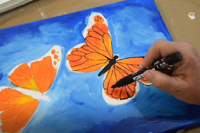 adding wing lines to butterfly