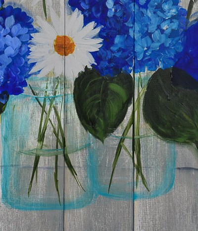 Mason Jar painting with flowers