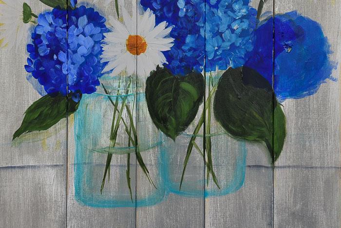Mason Jar painting with flowers