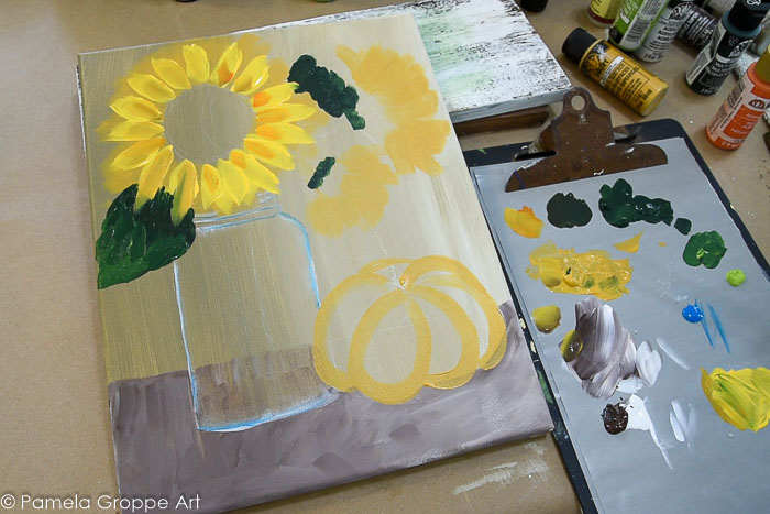 Add petals and highlights to Sunflowers