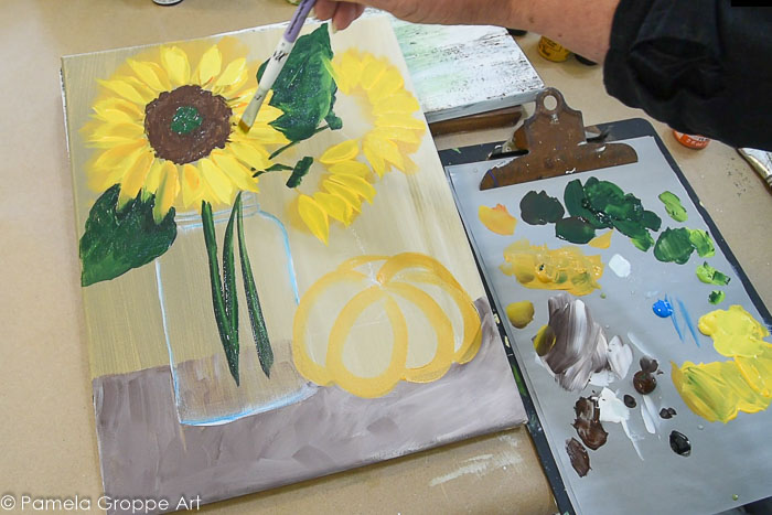 Paint sunflower center and add more highlight to Sunflowers