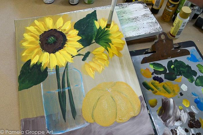 Highlight sunflowers, add calyxs and under coat pumpkin